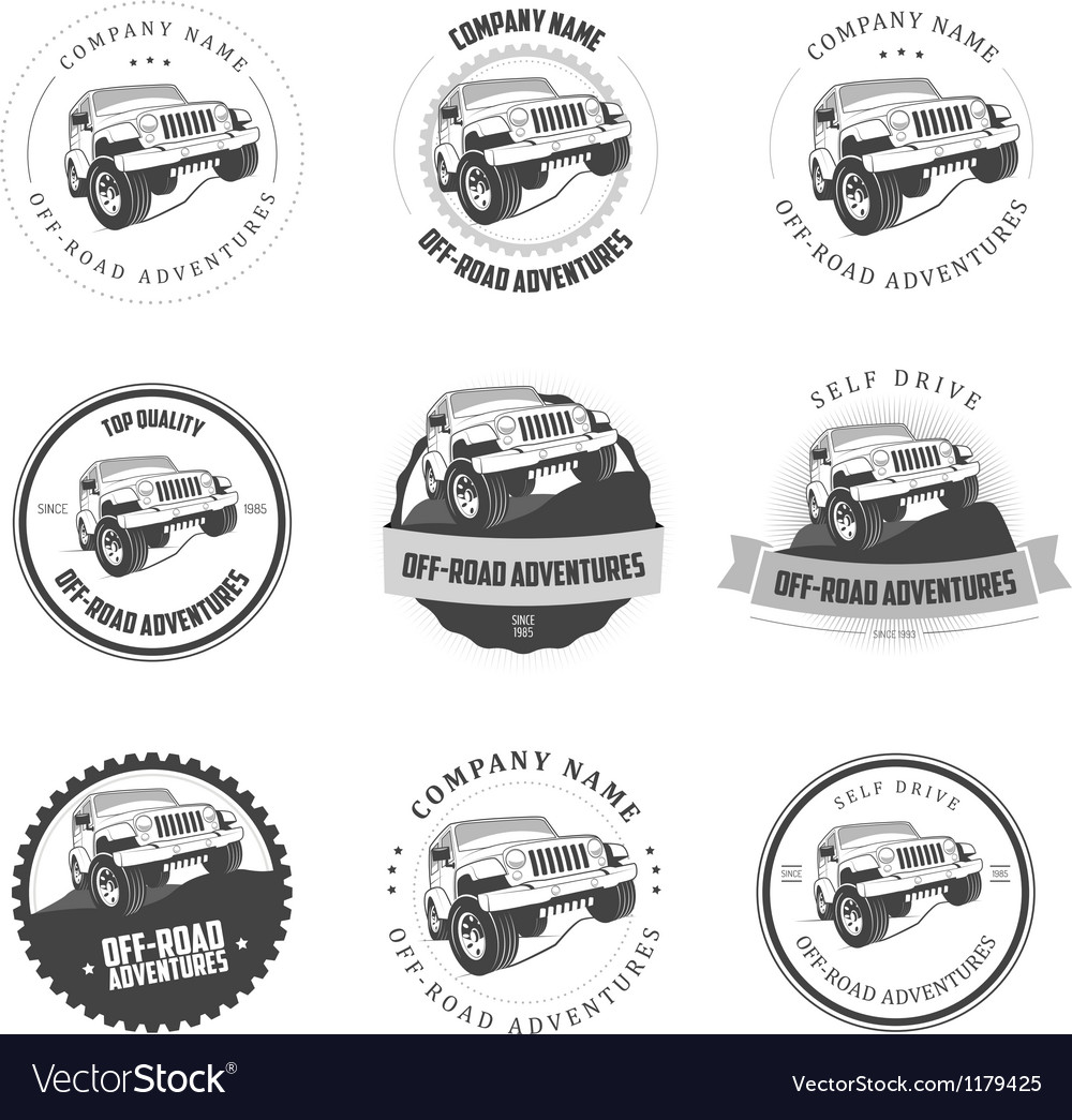 Monochrome offroad adventures labels and badges vector