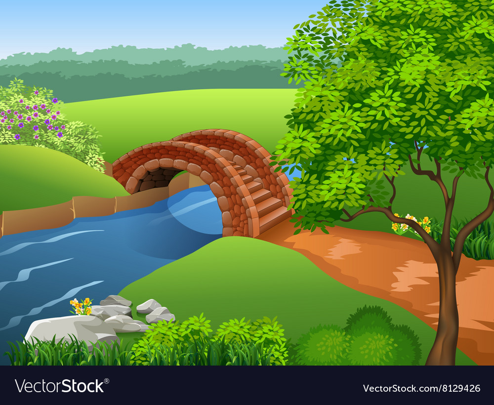 Beautiful river on nature background vector