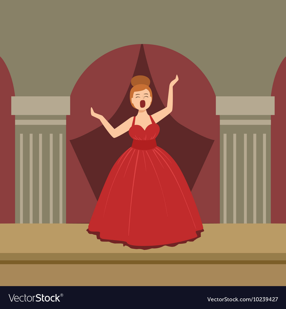 Opera singer in red dress performing on stage vector