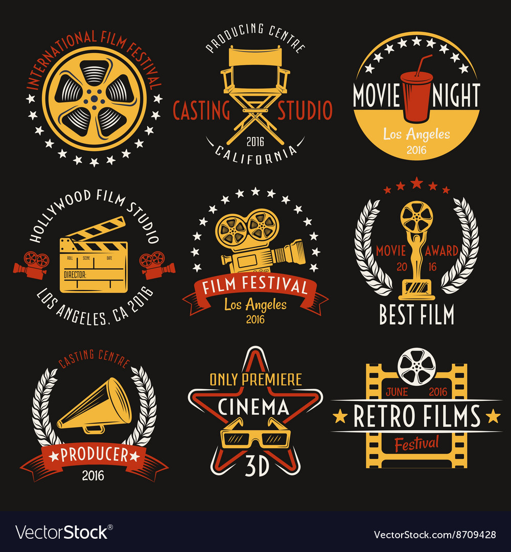 Cinema retro style emblems set vector