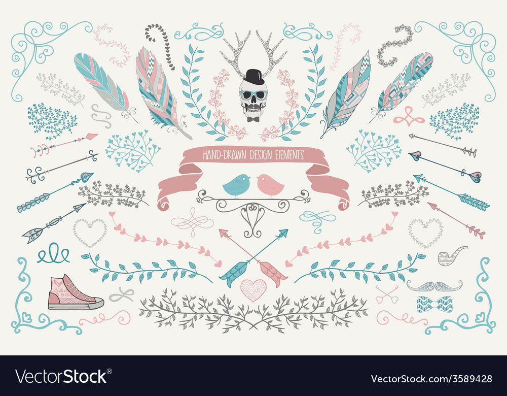 Handdrawn floral design elements vector