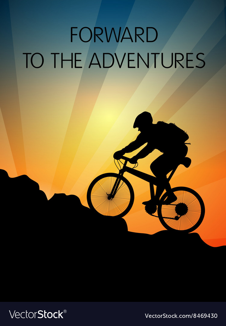 Bicyclist and sunset in the mountains vector