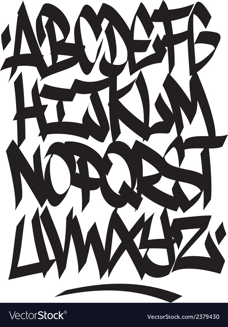 Hand written graffiti font type alphabet vector