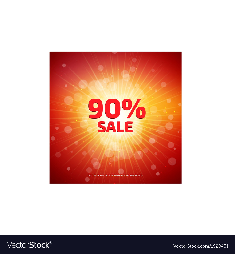 Bright red and orange sale background with rays vector