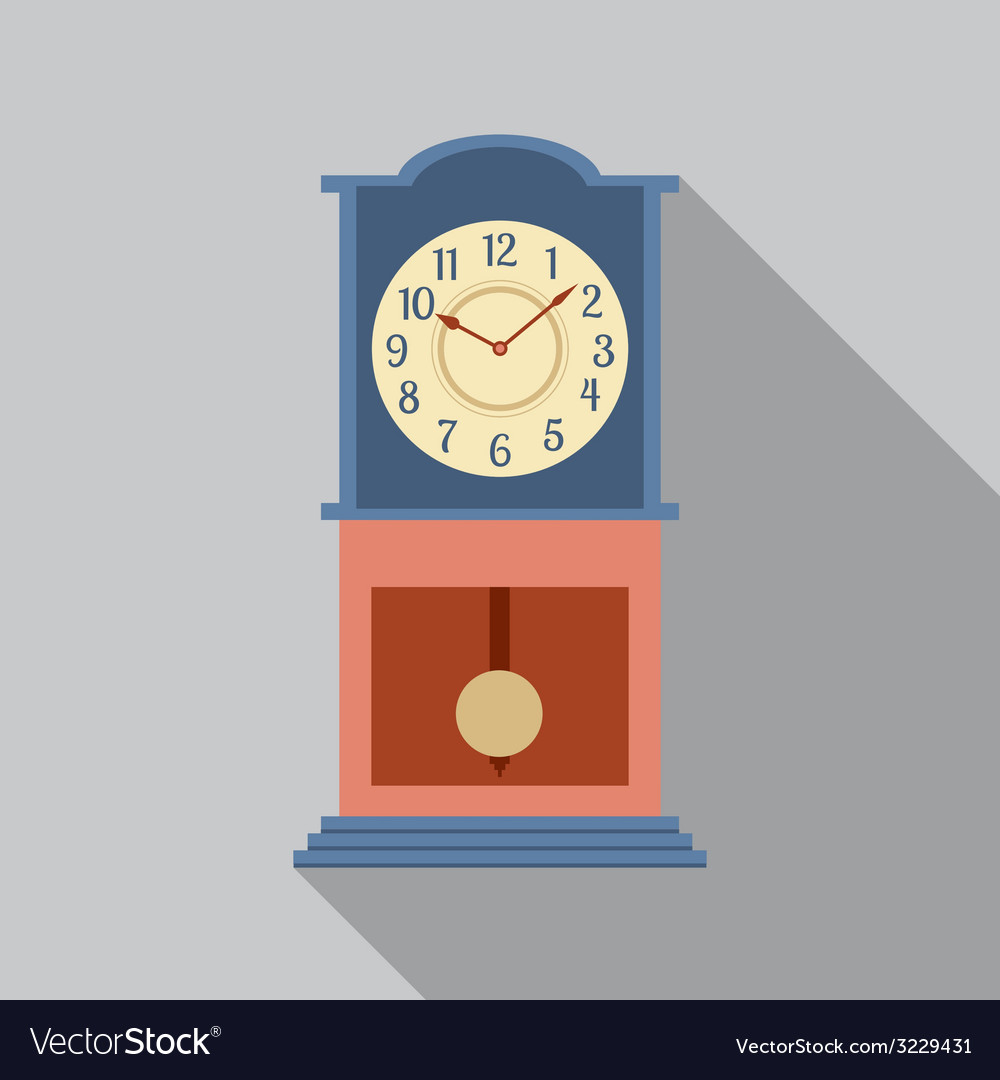 Grandfather pendulum clock vector