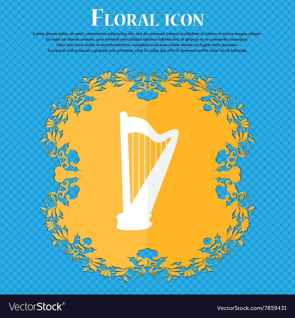 Harp icon floral flat design on a blue abstract vector