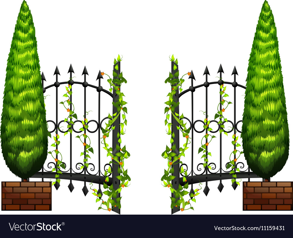 Metal fence with pine tree on sides vector