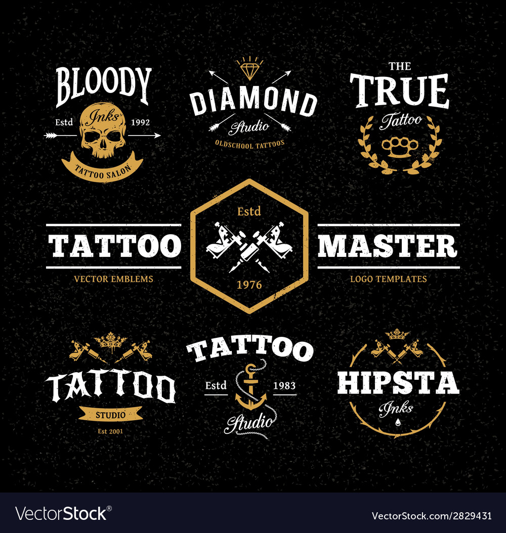 Tattoo studio emblems vector