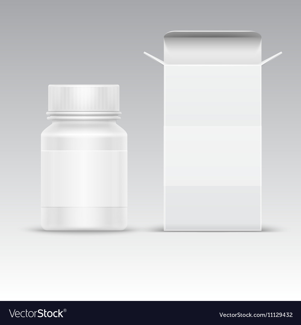 Medical blank packaging paper box and medicine vector