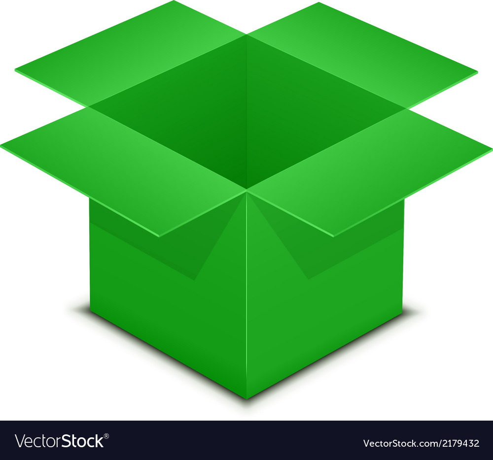 Open green box on white vector