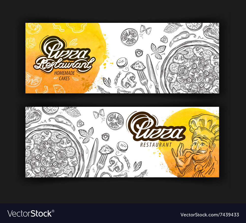 Pizza restaurant logo design template vector