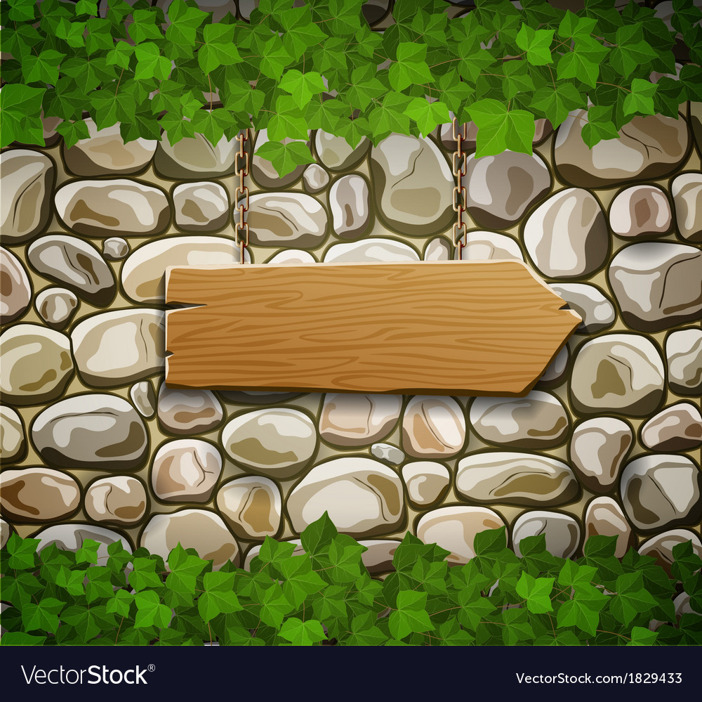 Stone wall with arrow and leaves vector