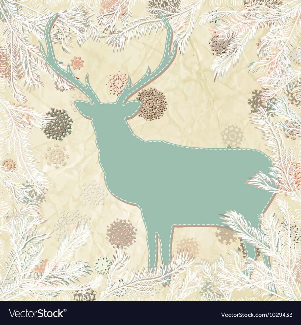 Vintage christmas deer card template eps 8 vector