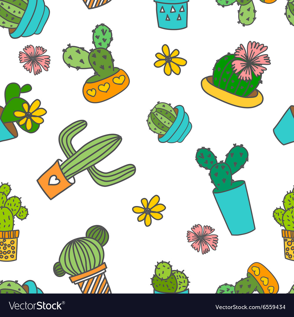 Cute doodle cactus and flowers in a pots vector