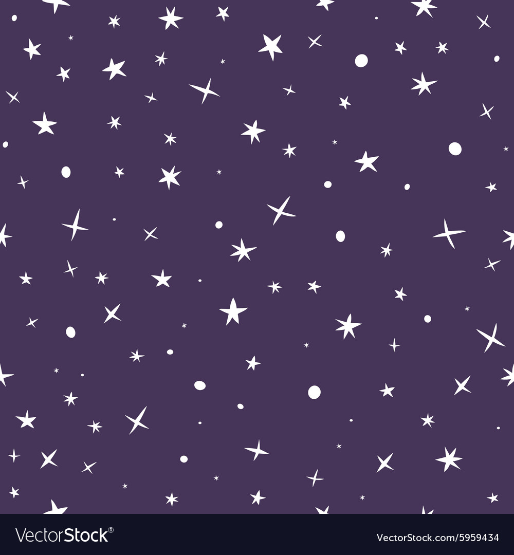 Cute hand drawn seamless pattern with night sky vector