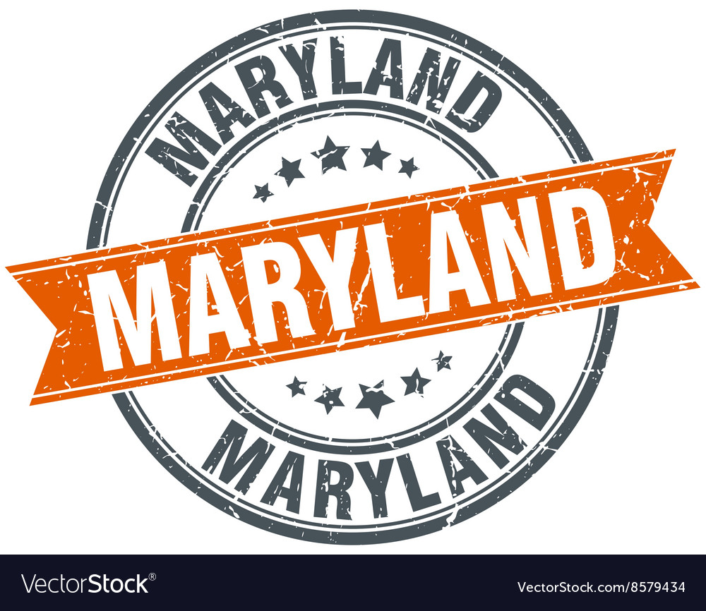 Maryland red round grunge vintage ribbon stamp vector