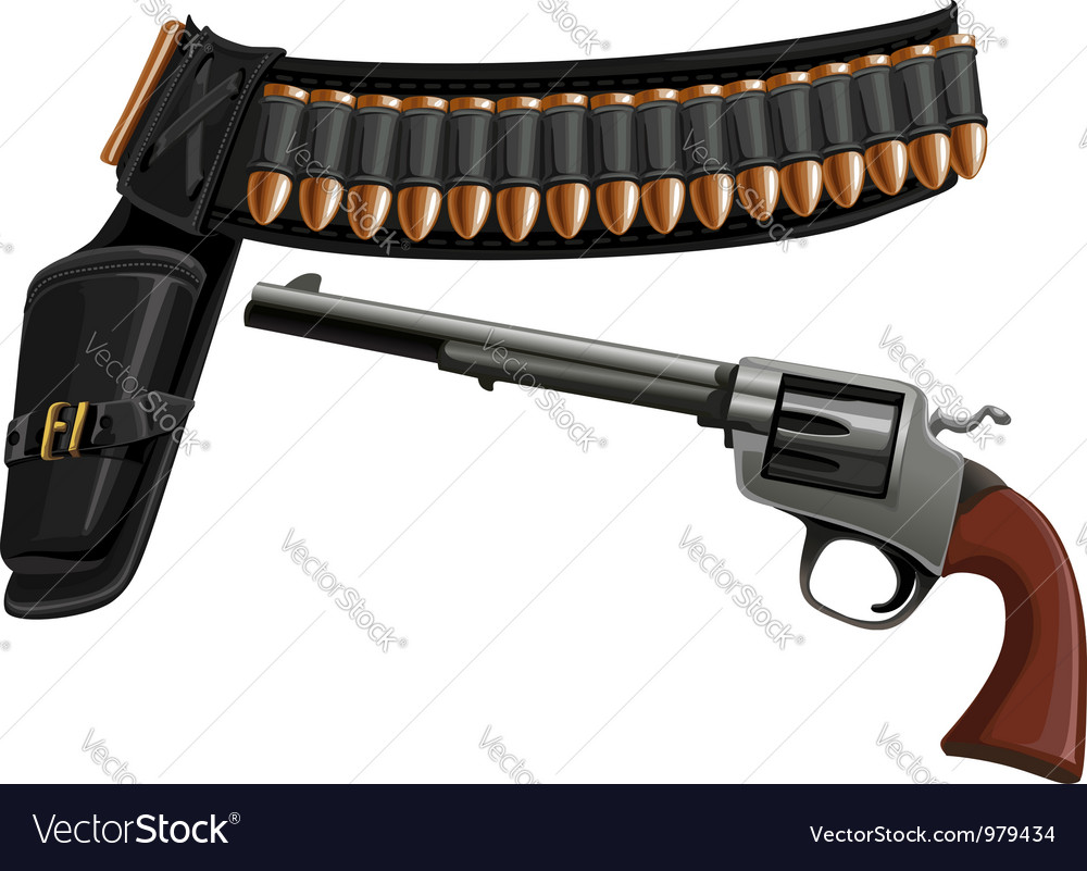 Revolver a belt holster and ammunition vector