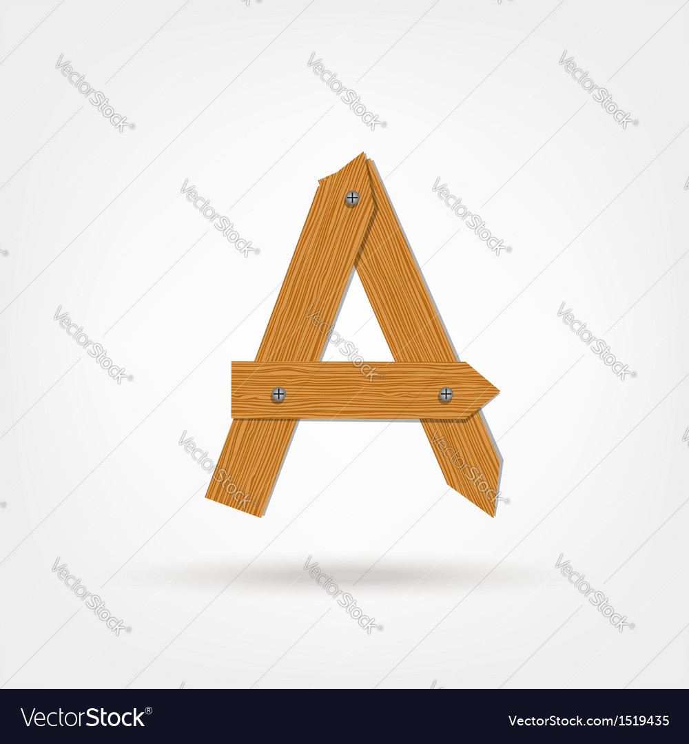 Wooden boards letter a vector