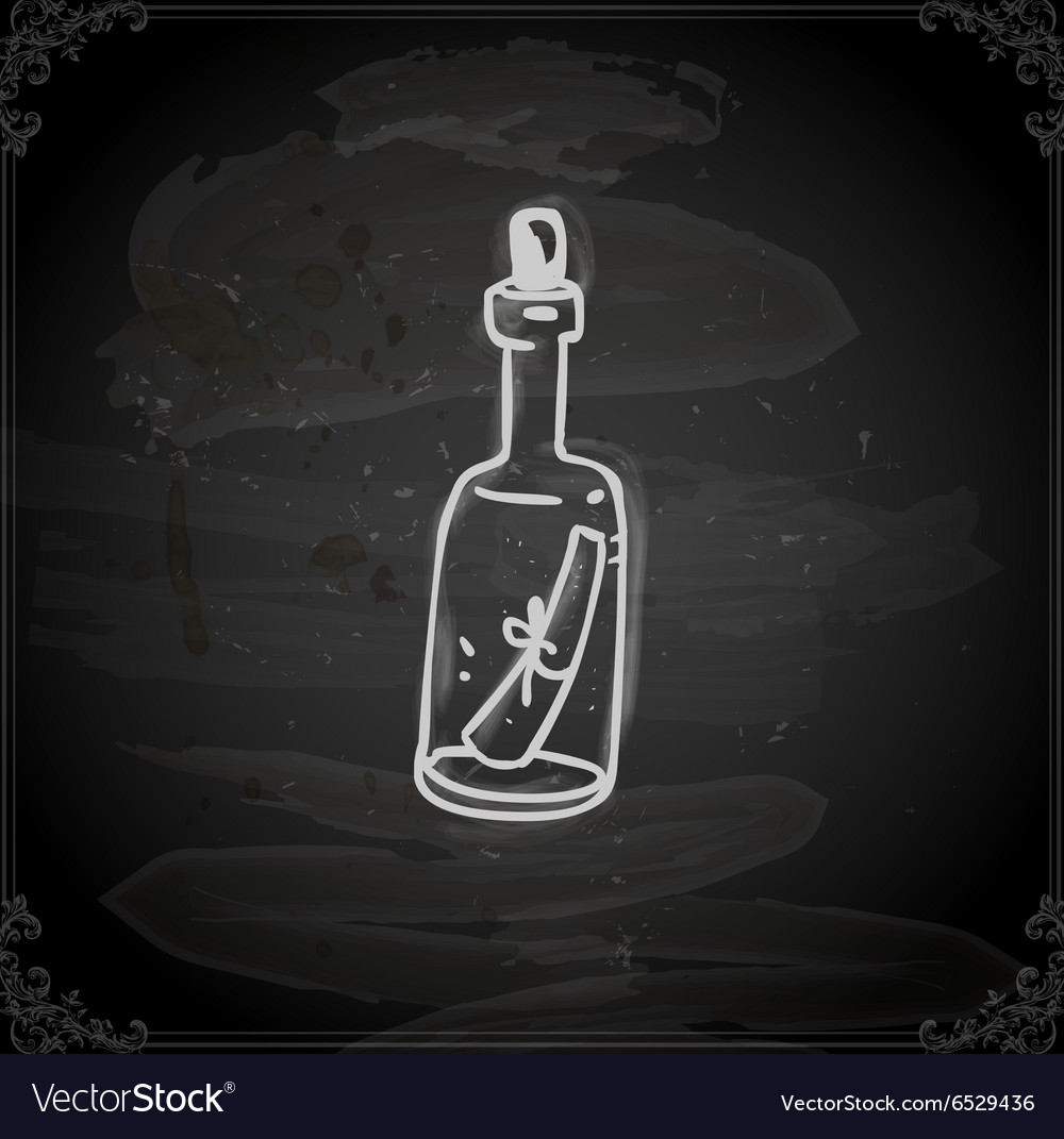 Hand drawn message in a bottle vector