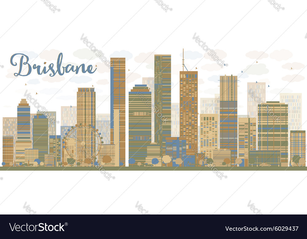 Abstract brisbane skyline vector