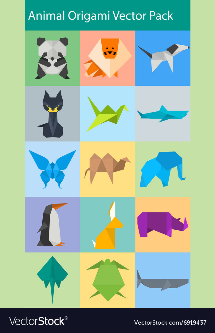 Animal origami pack vector