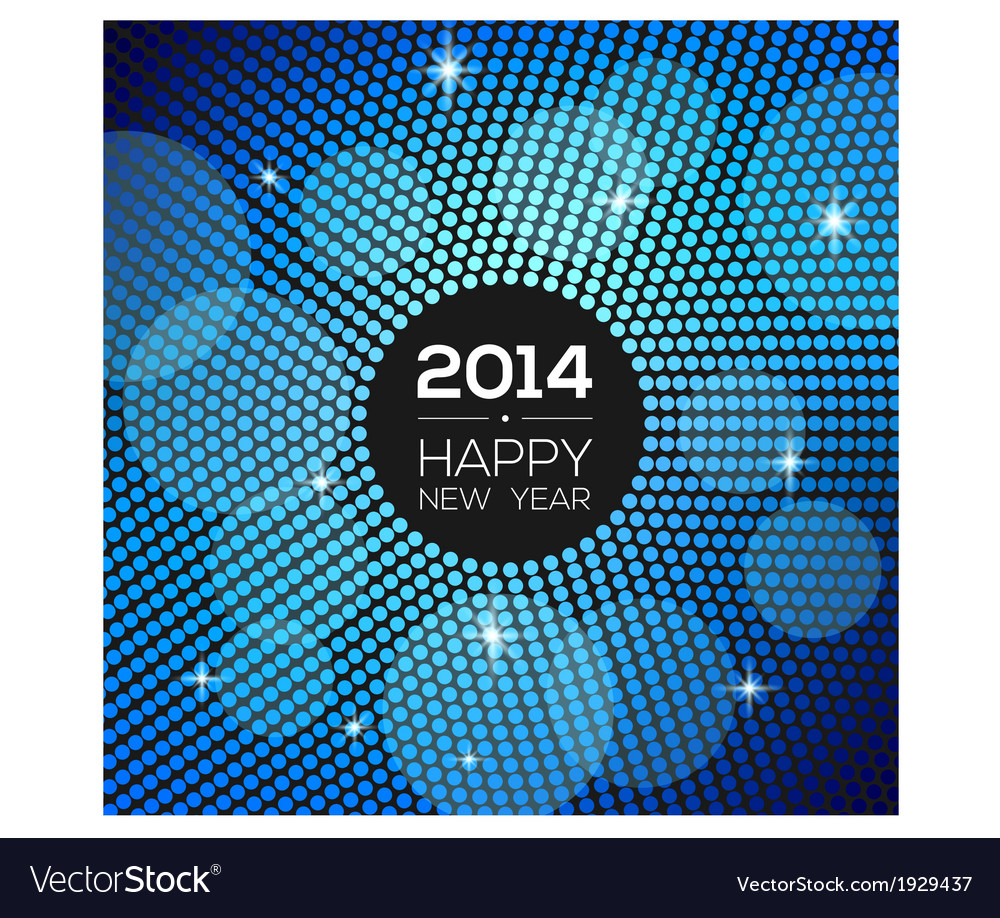 Happy new year 2014  blue disco lights frame vector
