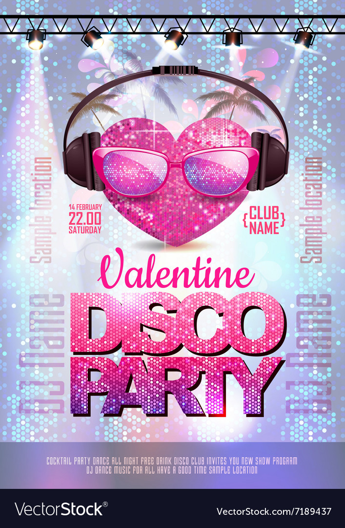 Love heart background valentine disco poster vector