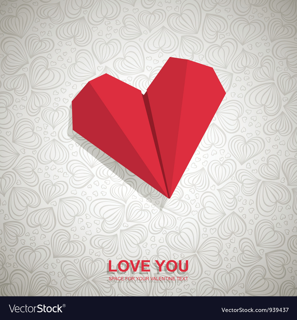 Origami heart background vector