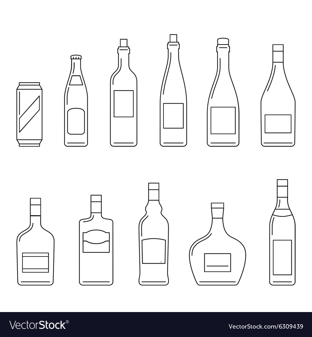 Beverages thin icons vector