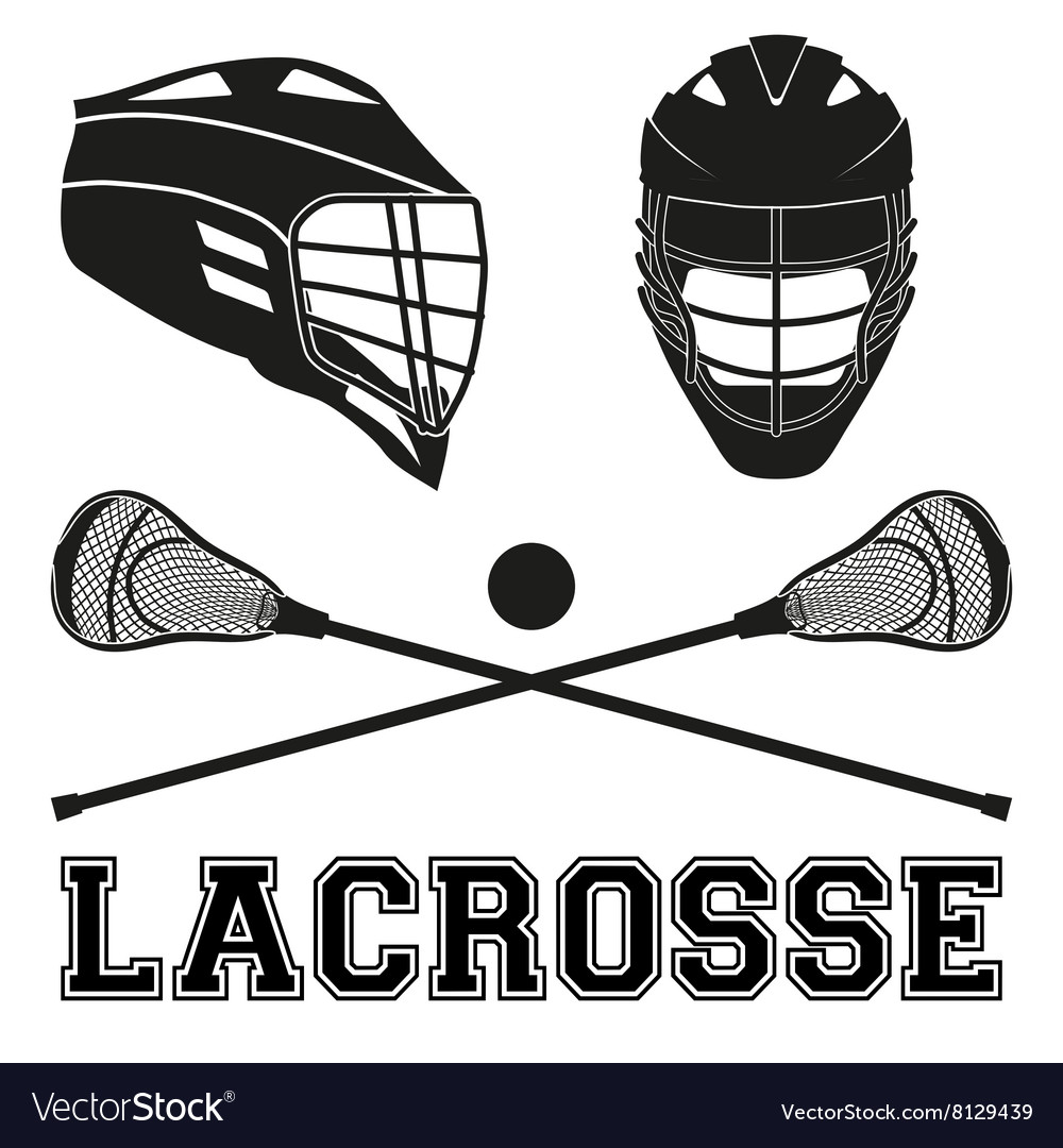 Lacrosse sticks and helmets flat style vector