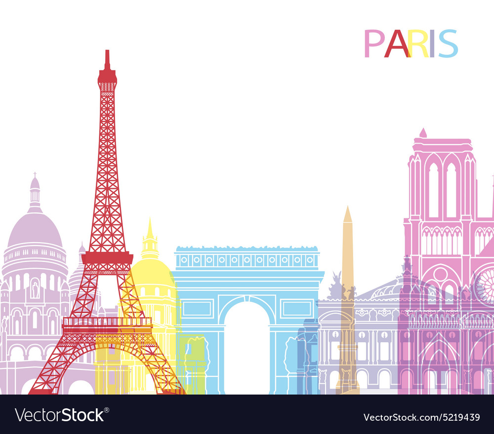 Paris skyline pop vector