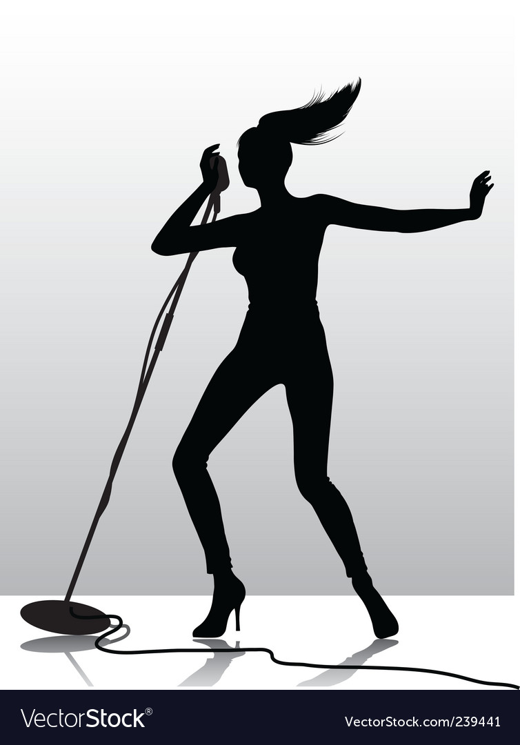 Female singer silhouette vector