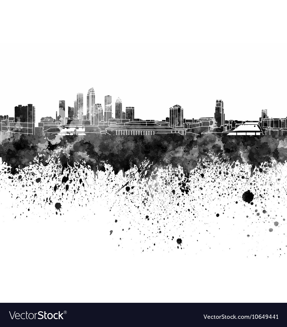 Tampa skyline in black watercolor on white vector