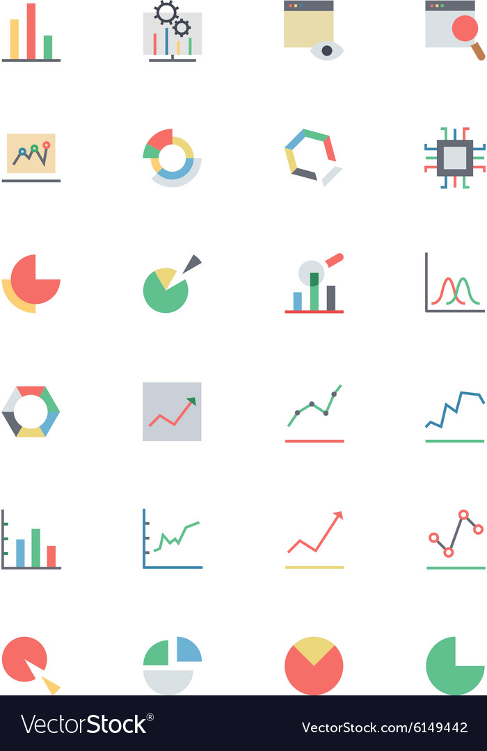 Data analytics colored icons 1 vector