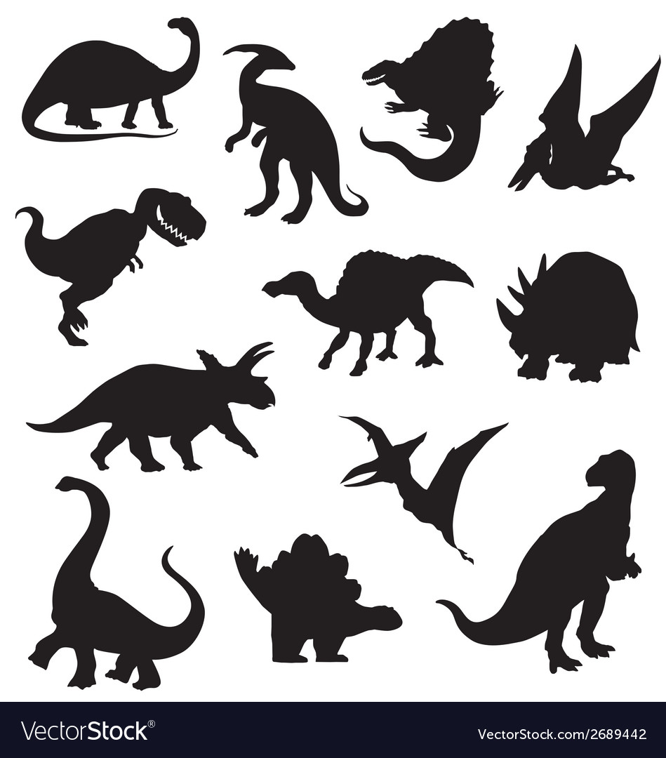Dinosaur silhouettes collection vector