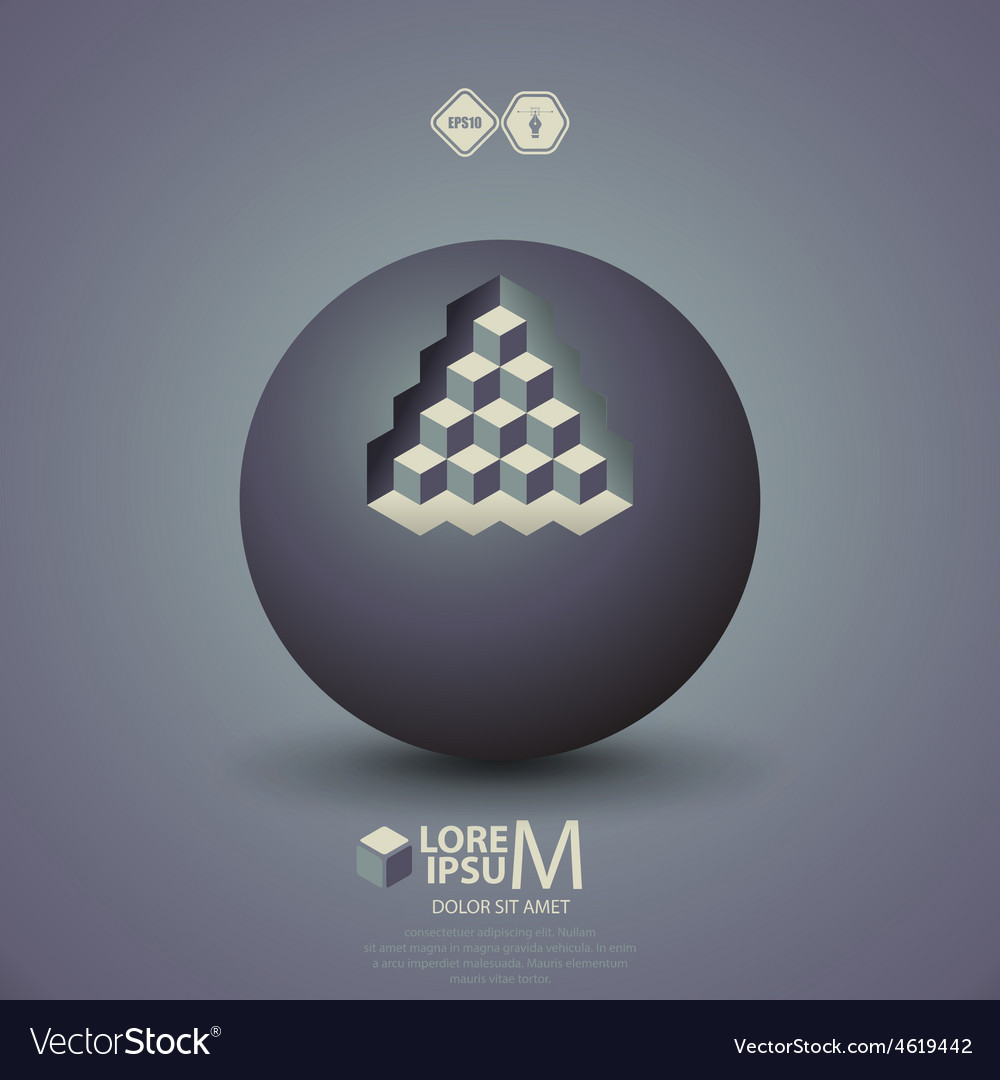 Pyramid on sphere vector