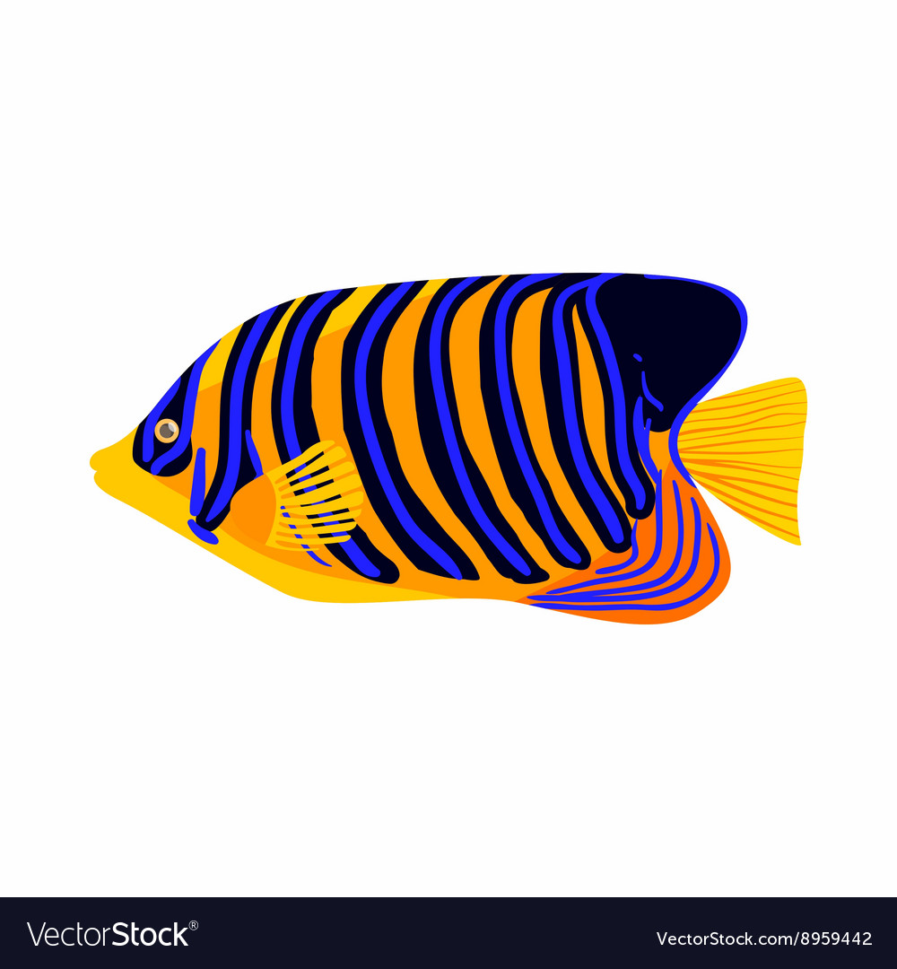 Zebrasoma fish icon cartoon style vector