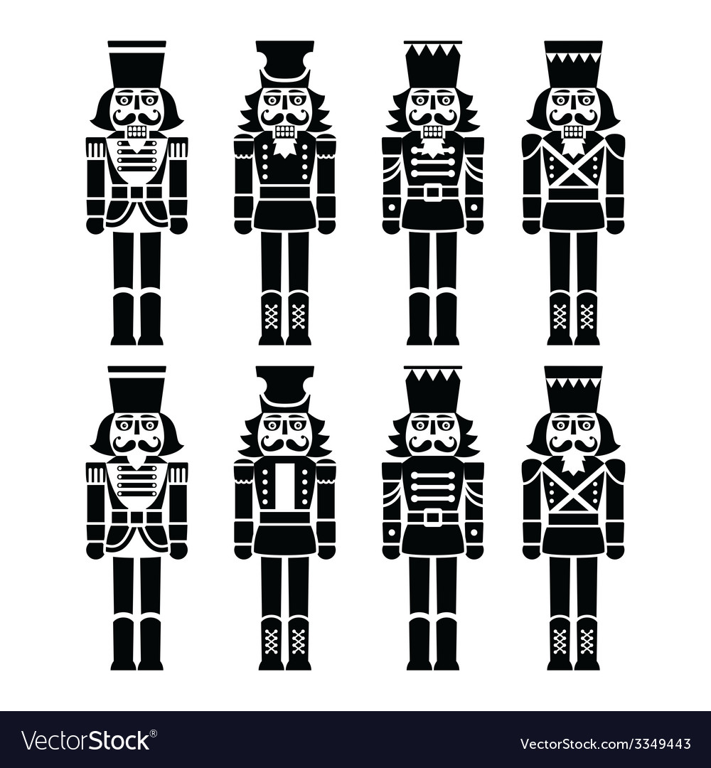 Christmas nutcracker  soldier figurine black icon vector