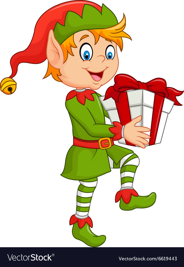 Happy green elf boy holding gifts vector
