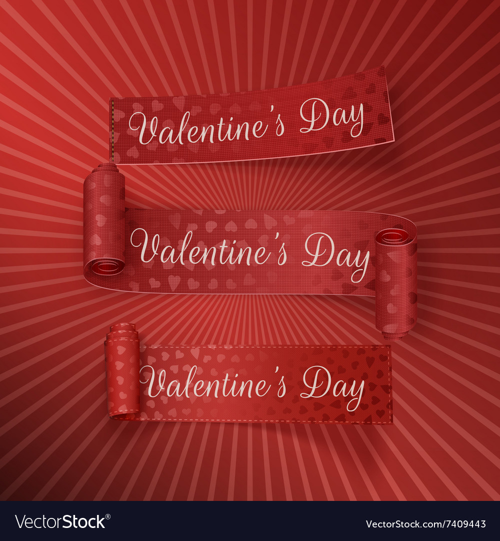 Realistic valentines day curved red ribbons set vector