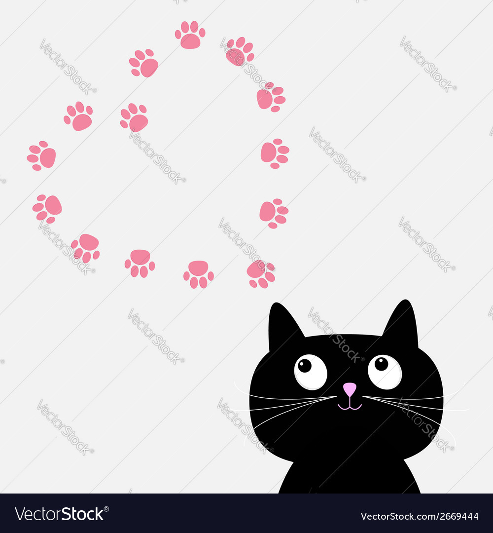 Big black cat and paw print heart frame template vector