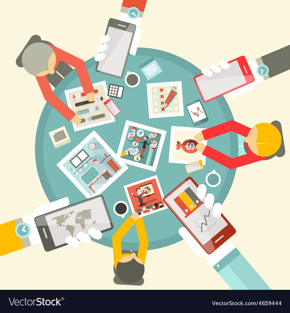 Flat design top view business meeting with table vector