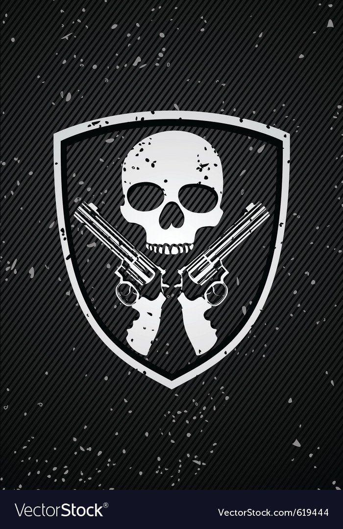 Skull badge vector
