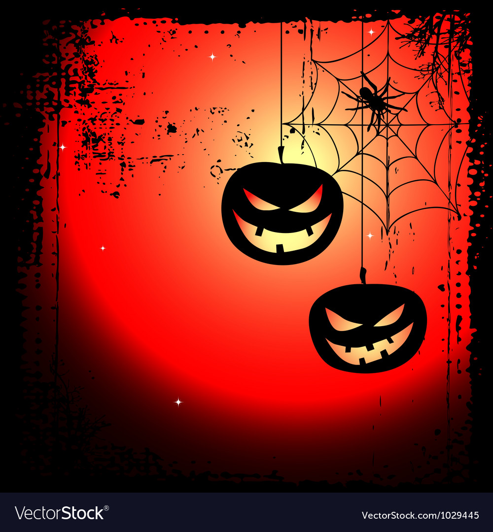 Halloween background  two pumpkins and cobweb vector