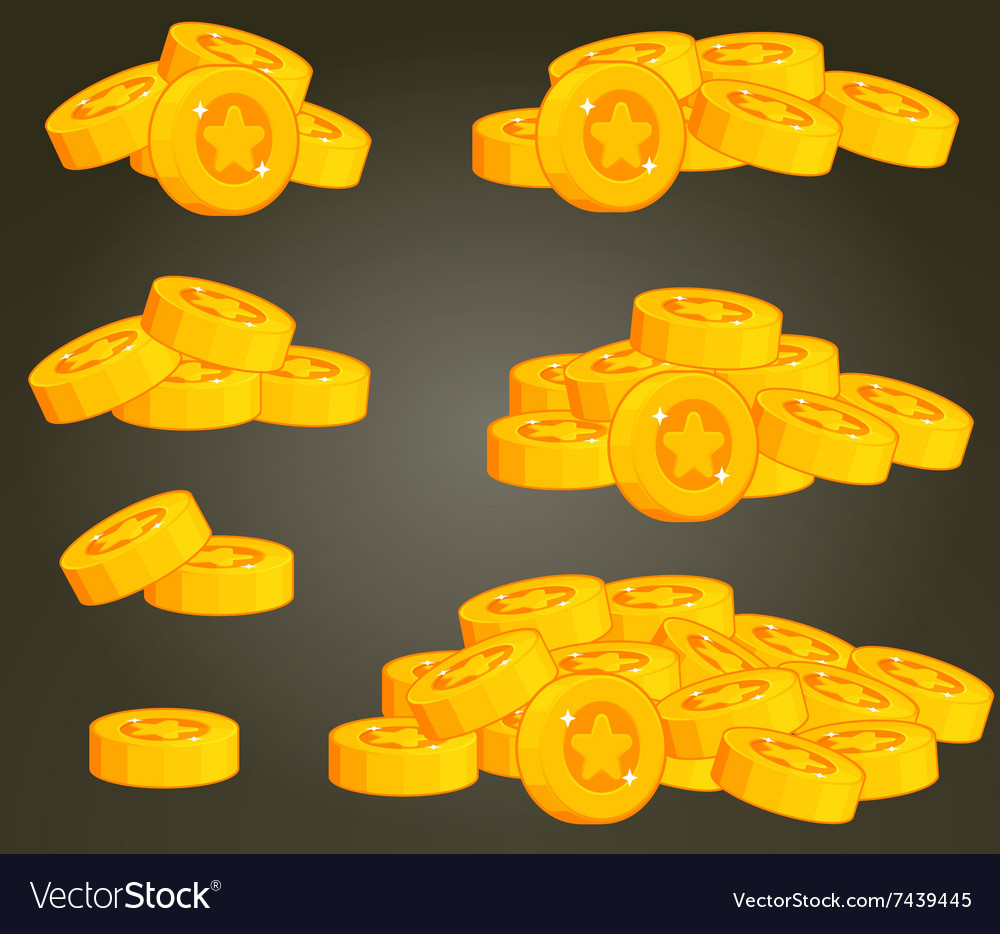 Set of coin piles for ui vector