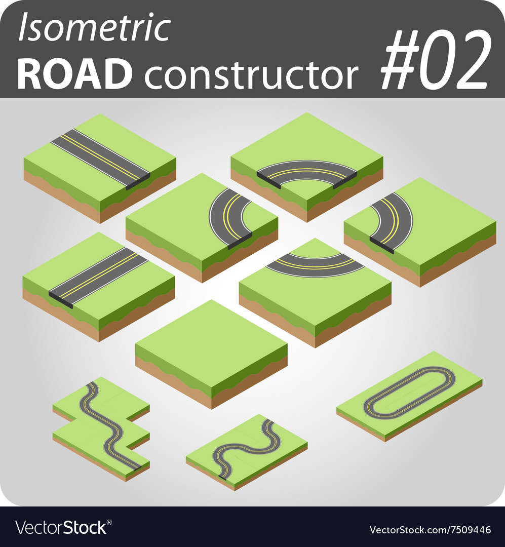 Isometric road constructor  02 vector
