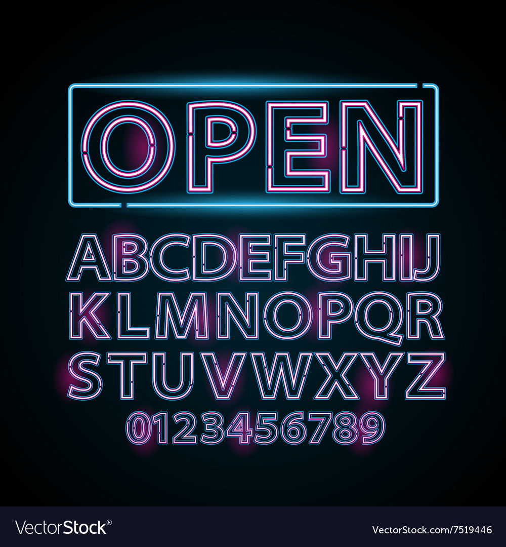 Pink and blue neon lamp letters font show vector