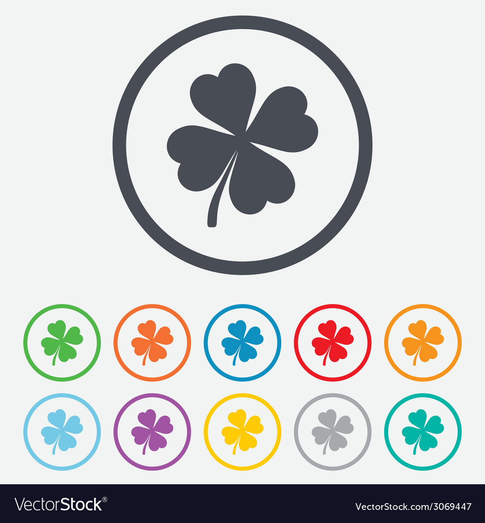 Clover with four leaves sign st patrick symbol vector