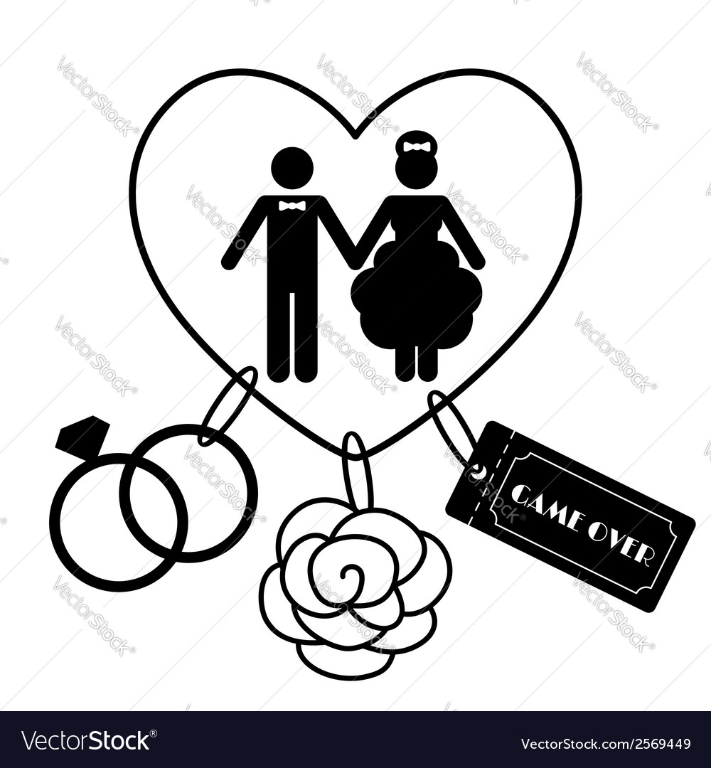 Cartoon funny wedding symbols  game over vector