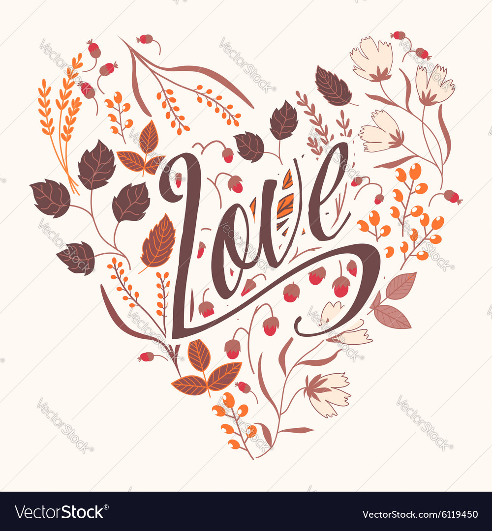 Autumn floral card fall autumn leaves vector